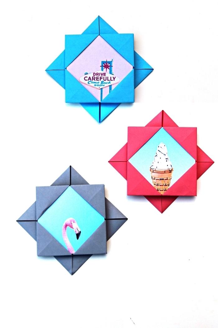 mini-cadre photo à design origami, modèle de pliage origami pour réaliser une pochette photo