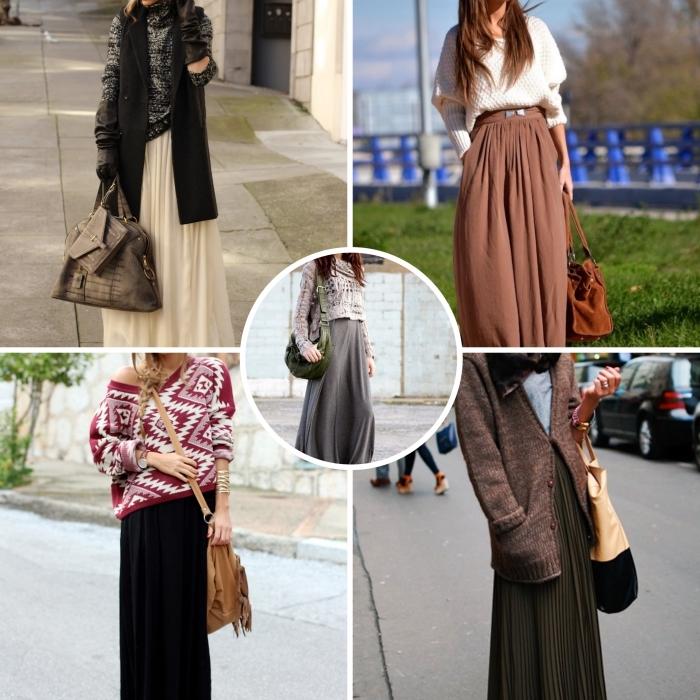 comment porter une jupe longue plissée, tenue femme en jupe longue couleur marron avec pull-over blanc et sac à main velours marron
