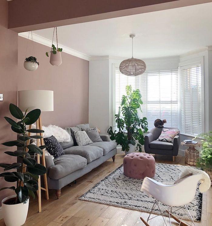 repeindre un mur de salon en rose de gris, canapé gris surchargé de coussins cosy, pouf rose poudré, tapis noir et blanc shaggy, parquet bois clair, grandes fenetres