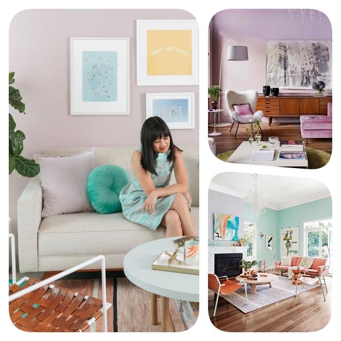 rose pastel, couleur mauve clair teinte lavande ou murs bleu clair pour amenager un salon cocooning, parquet bois deco originale