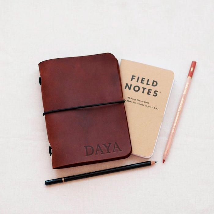 Notes de voyage dans un cahier avec couverture en cuir, idée cadeau meilleure amie, cadeau pour voyageur