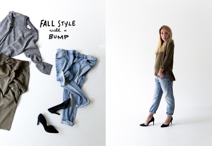 comment bien s'habiller en automne, idée tenue grossesse de style casual chic avec jean grossesse clair et chaussures à talons