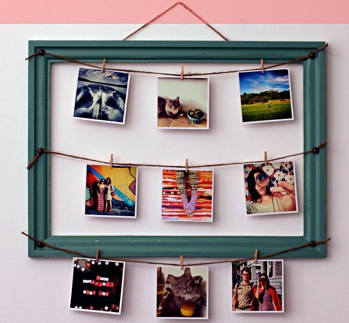 grand cadre photo avec de la corde et des pince à linge décoratives, pêle-mêle diy au design vintage avec pinces à linge