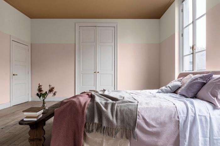 design intérieur style moderne dans une chambre rose et gris, quelle peinture pour une chambre adulte de style scandinave