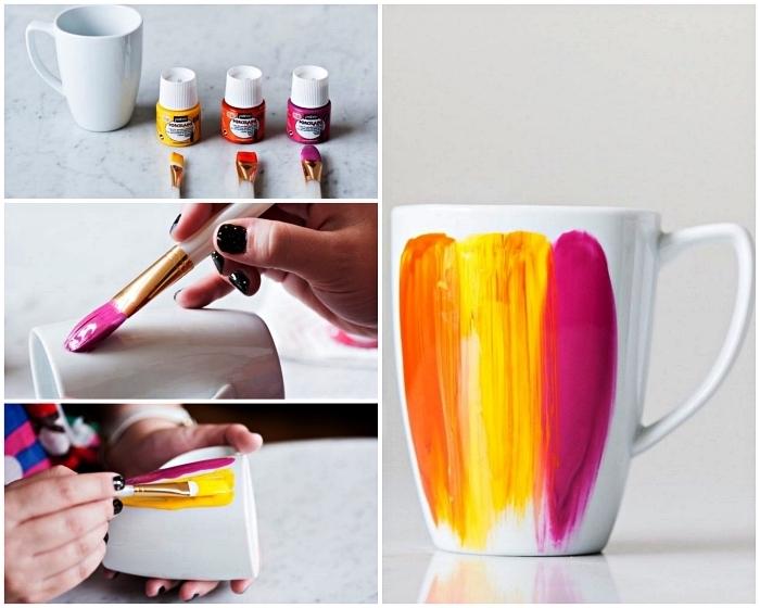activité créative avec peinture à porcelaine, peindre un mug blanc en porcelaine, décorer un mug porcelaine avec trois couches de peinture