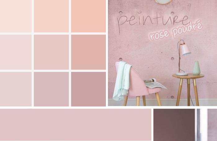 deco rose poudré, tendance couleurs peinture murale 2019, palettes nuances de rose poudré dans l'intérieur