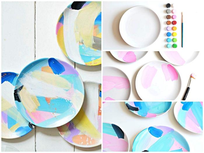 activité créative avec de la peinture à porcelaine, assiettes en porcelaine peintes de motifs abstraits multicolore