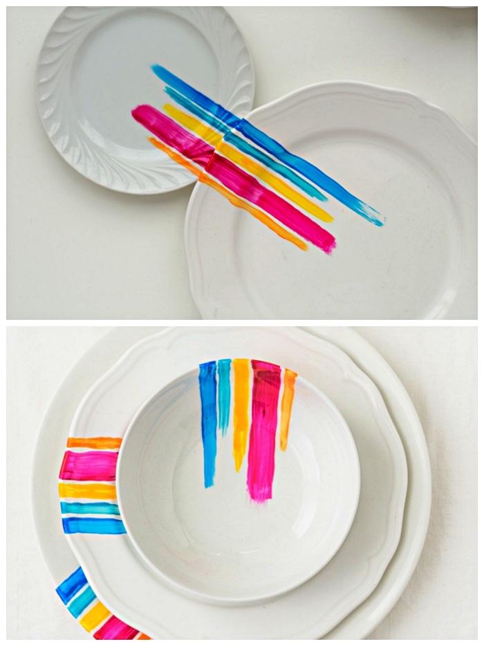 des bandes de couleur en peinture porcelaine sur assiettes blanches, idées pour customiser sa vaisselle