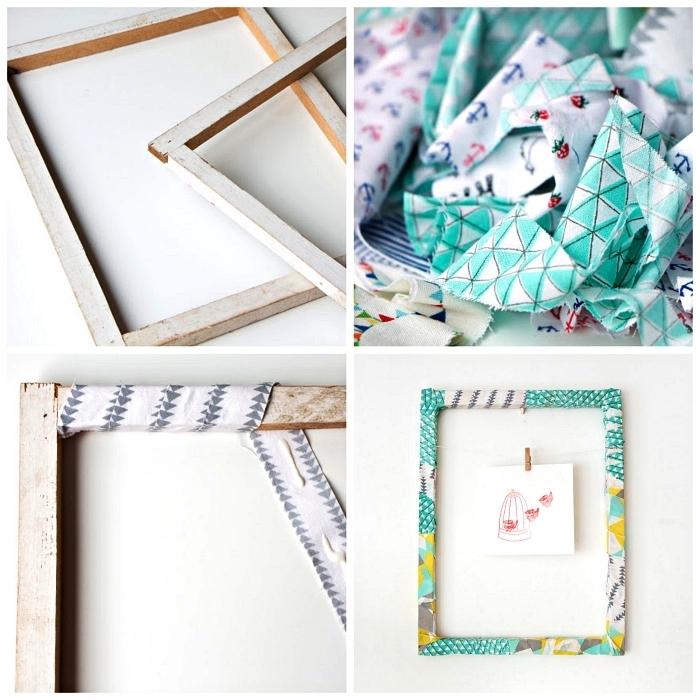 customiser un grand cadre photo en bois avec des chutes de tissu récup, habiller un cadre de chutes de tissu