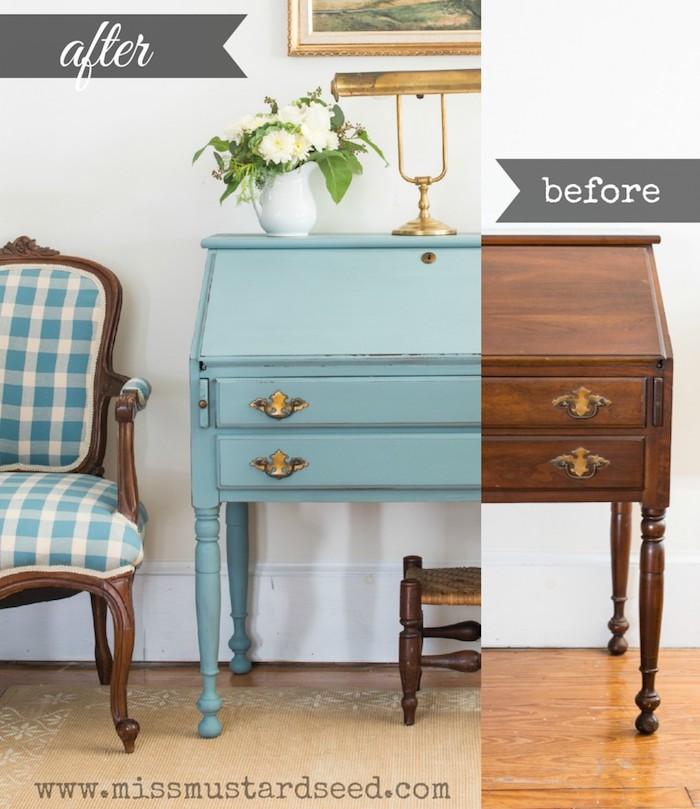 Photo avant et après la peinture d'un cabinet simple en bois, peindre un meuble en bois, peindre un meuble vernis