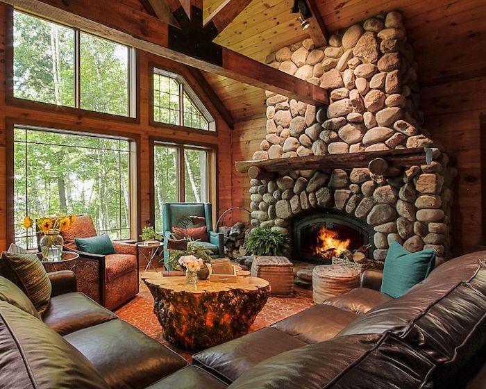 Grande fenêtre avec adorable vue, chambre chalet, decoration bois maison de vacances, table basse en bois flotté