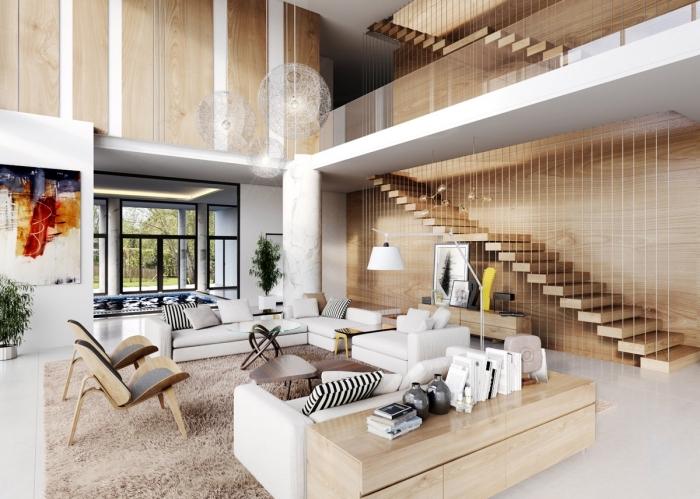 idée amenagement salon contemporain en blanc et bois avec escalier moderne, design intérieur style contemporain