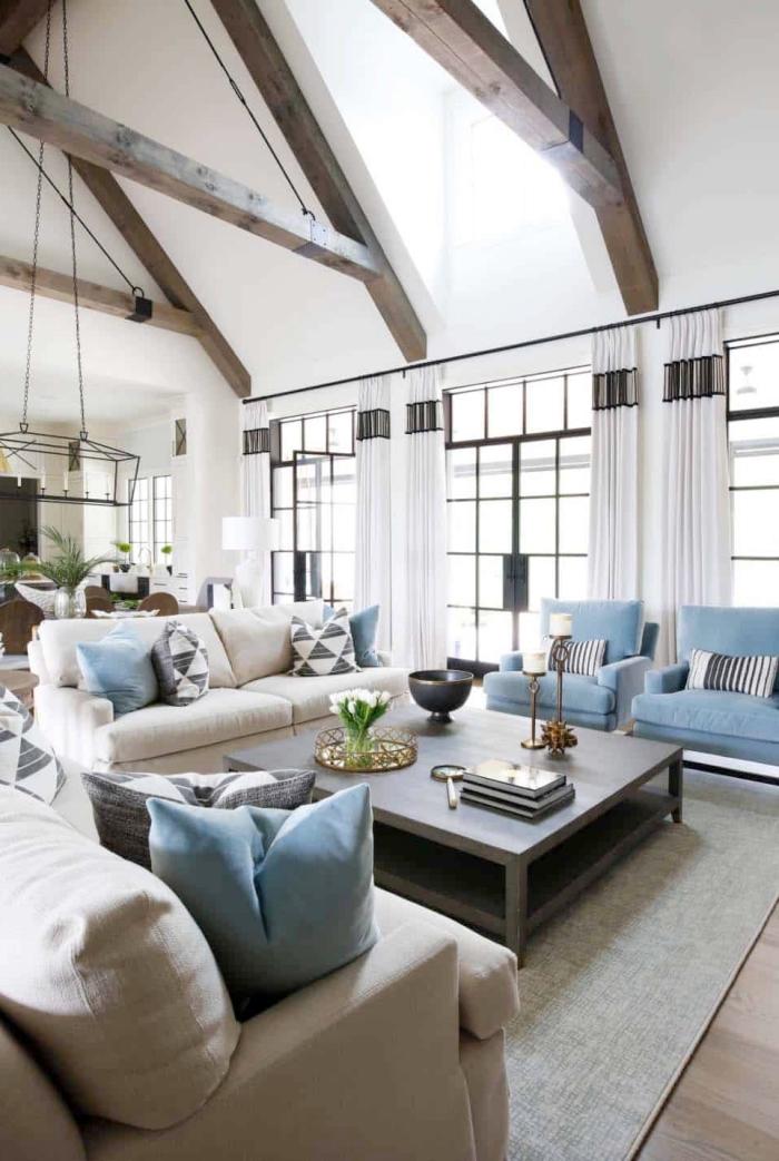 comment aménager l'espace sous un plafond cathédrale en blanc et bois avec fenêtres de bois, modèle de fauteuil couleur pastel