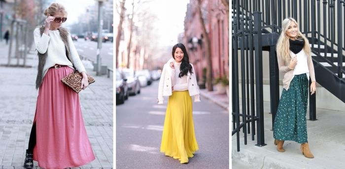 modèles de jupe plissée longue en couleurs vives, tenue chic femme en jupe longue combinée avec pull-over et gilet faux fur