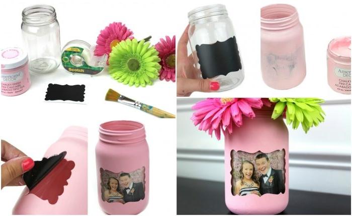 bricolage facile avec bocaux en verre, détourner un pot en verre en porte photo, cadre photo en bocal verre peint en rose