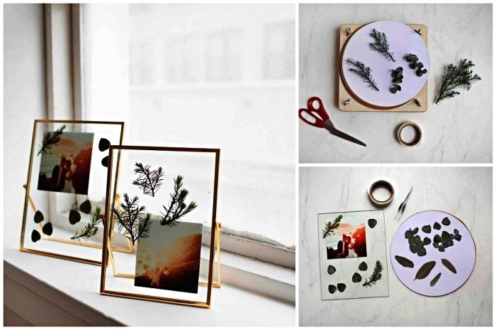 cadre photo herbier en verre et métal, cadre photo à design contemporain décoré de feuilles séchées