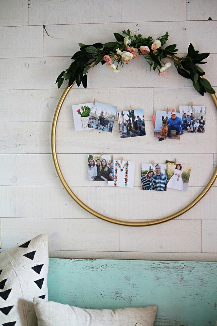 pele mele photos façon couronne végétale pour afficher ses plus beaux tirages, cerceau hula hoop transformé en pêle-mêle original