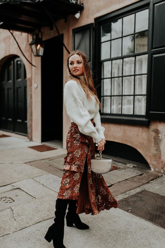 Robe pour noel, robe longue manche longue chic, robe pull oversize et jupe longue, style moderne pour la saison