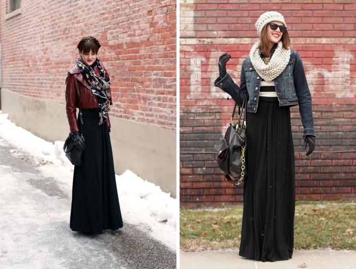 exemple comment porter une jupe plissée noire avec veste en simili cuir bordeaux, accessoires mode femme hiver 2019