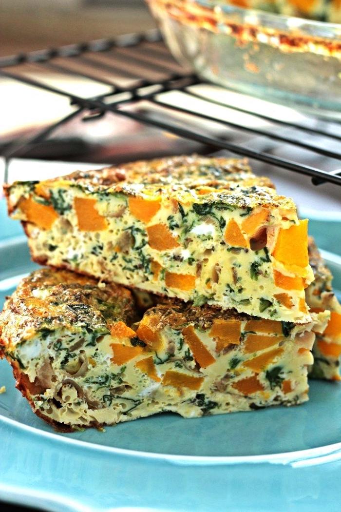 recette de quiche légère sans pâte à la courge butternut et oignons caramélisés