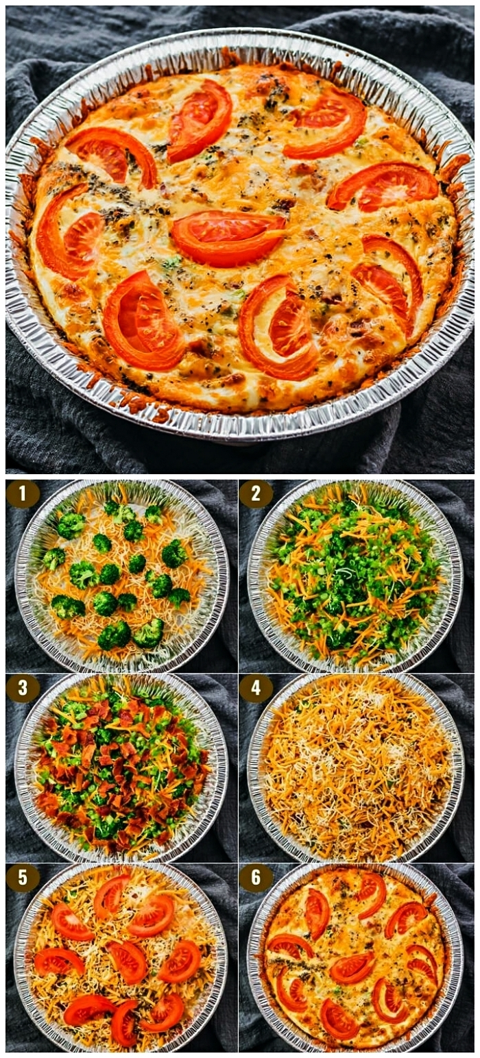 quiche sans pate facile aux tomates, poivrons, brocolis et cheddar, recette de quiche végétarienne sans pâte