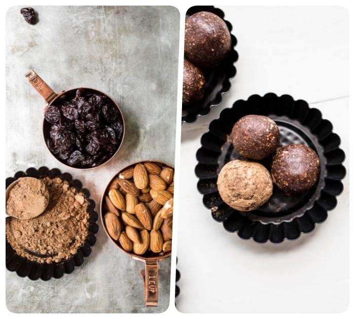 cerises séchées, cacao et amandes pour faire des balles protéinées, regime keto recette rapide pour dessert sans cuisson
