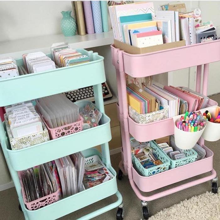 comment ranger ses fournitures scolaires ou de bureau, meuble desserte etagere pour ranger cahiers, livres, materiel scrapbooking et bricolage