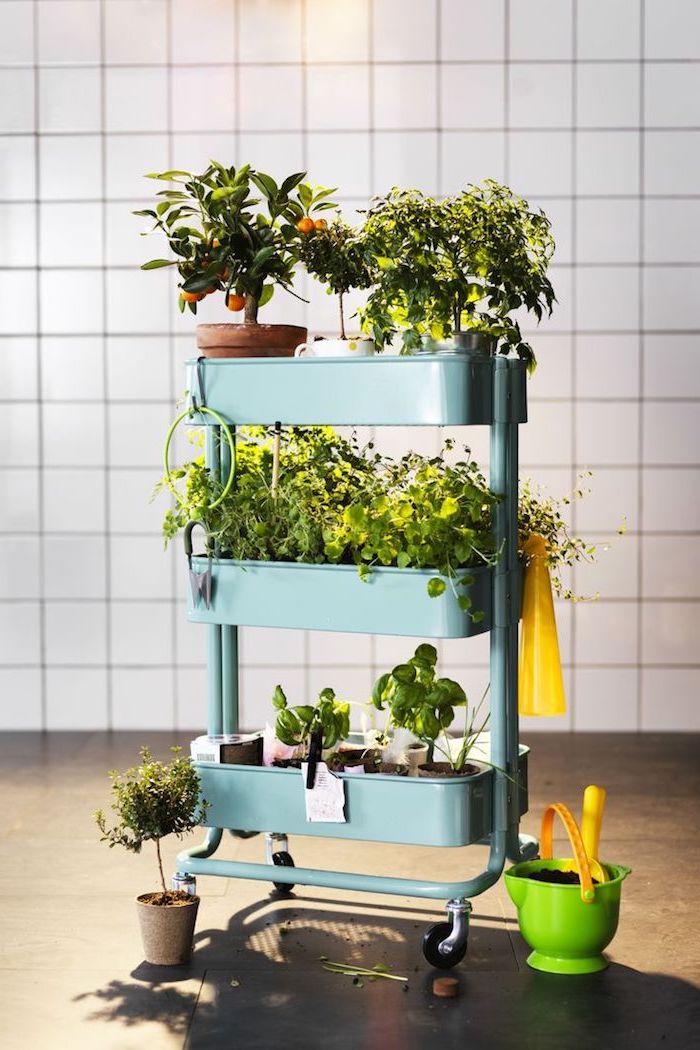 ikea etagere meuble raskog pour ranger plantes vertes interieur, idee de rangement amovible à roulettes