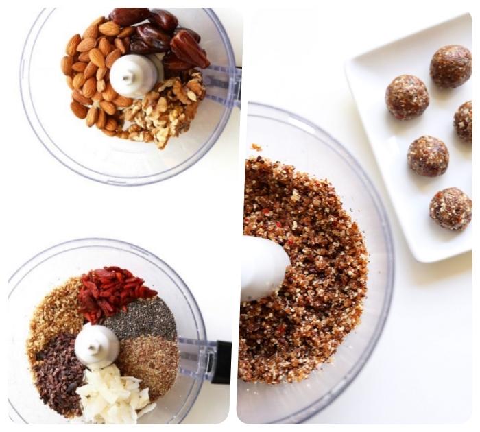 idée de diète cétogène dessert de boules energie aux graines de chia, noix de coco, dattes et baies de goji