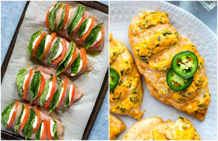 idée recette blanc de poulet, repas léger soir, poulet façon caprese farci de basilic, mozzarella et tomates