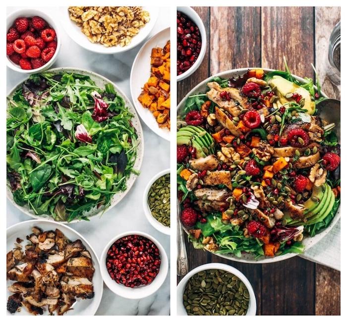 salade composée originale constituée de salades vertes aux tranches de poulet, grenade, framboises, noix et graines de potiron
