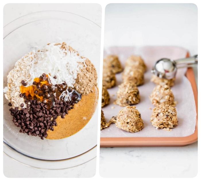 recette energy ball aux flacons de noix de coco, flacons d avoine, pepites de chocolat, sirop d erable, beurre d amande
