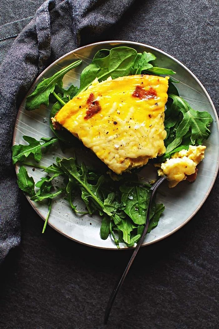 recette facile pour le soir, recette de quiche légère sans pâte au bacon et au fromage