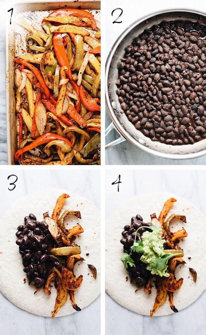 recette minceur facile pour une semaine, fajitas de légumes aux haricots noirs, légumes grillés et sauce avocat écrasé, wrap apero tortilla