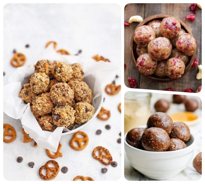 trois variations de boules d energie, canneberges séchées, bretzels et pepites de chocolat, regime keto