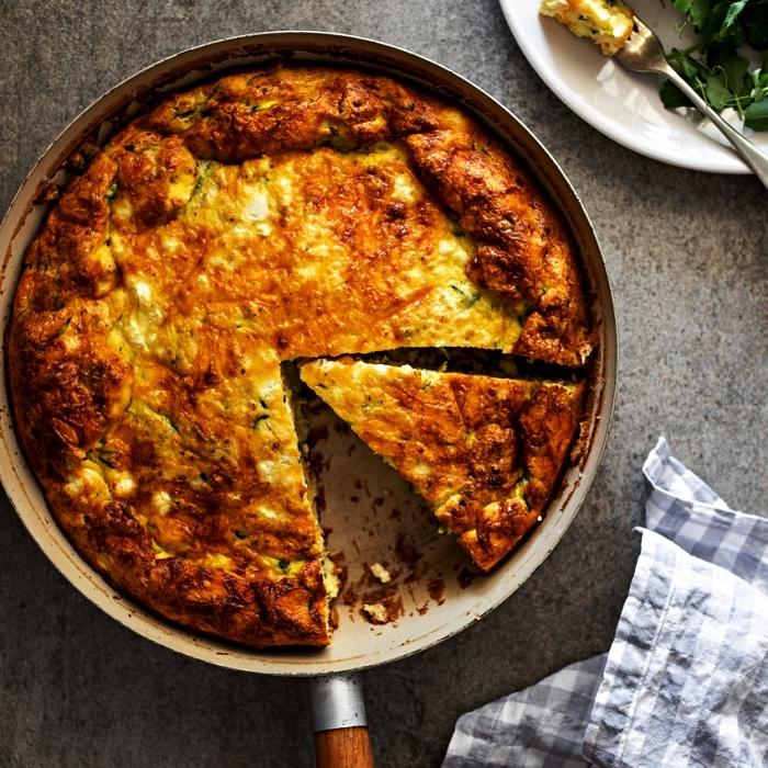 recette quiche lorraine sans pate aux courgettes et au fromage, recettes sans gluten pour le soir ou le déjeuner