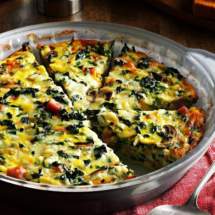 recette sans gluten et sans pâte de quiche lorraine végétarienne aux champigons et épinard