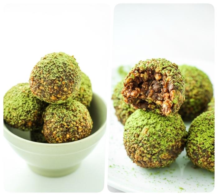 idee de balles d energie faciles a faire avec flacons d avoine, beurre de cacahuete et topping de thé vert matcha