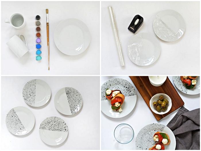 travaux manuels adultes pour relooker sa vaisselle, peindre des assiettes en porcelaine à moitié, assiettes mouchetées