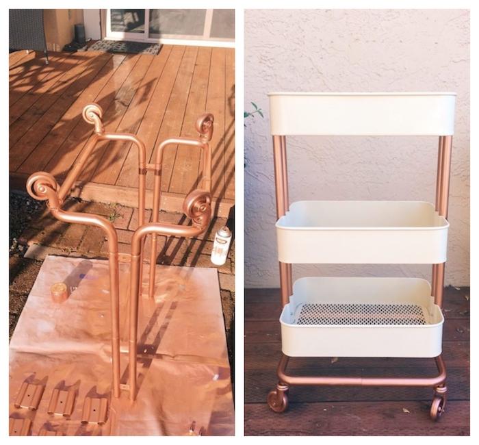 relooking meuble cout bas avec bombe peinture couleur cuivre et paniers en métal de couleur blanche