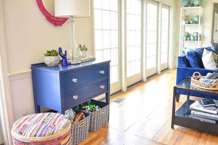 Cool idée pour le salon décoré en bleu, meuble relooké, relooker meuble ancien en moderne