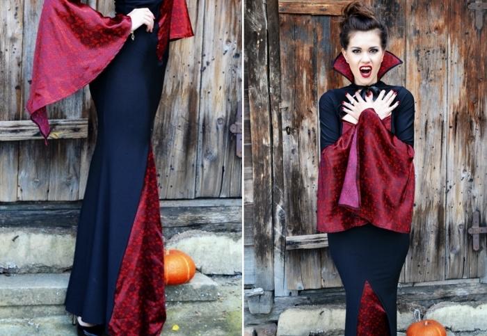 tenue vampire pour femme avec robe longue et cape, idée maquillage halloween facile faire maison avec rouge à lèvre rouge et yeux smoky