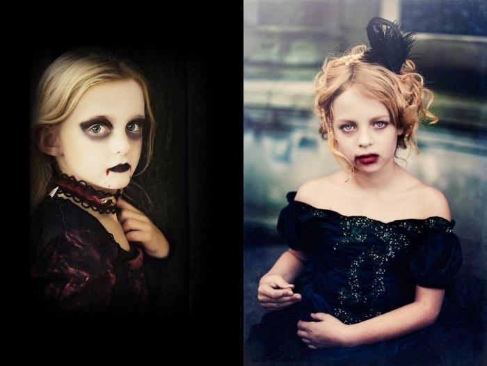 idée maquillage halloween facile pour enfant, peinture visage blanc et yeux sombres pour un makeup vampire fille