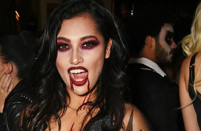 idée maquillage halloween facile faire maison, réaliser un makeup vampire avec fards à paupières et bouche rouge