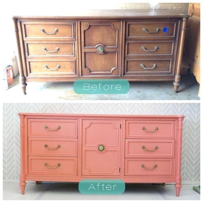 Idée placard décorative peinture rose, peinture renovation meuble, relooker meuble ancien en moderne rangement