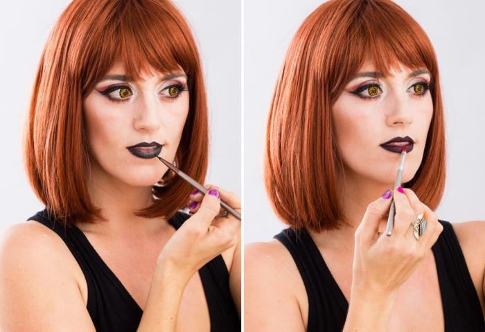 étapes à suivre pour réaliser un make-up vampire pour femme, look halloween de dernière minute, maquillage vampire femme