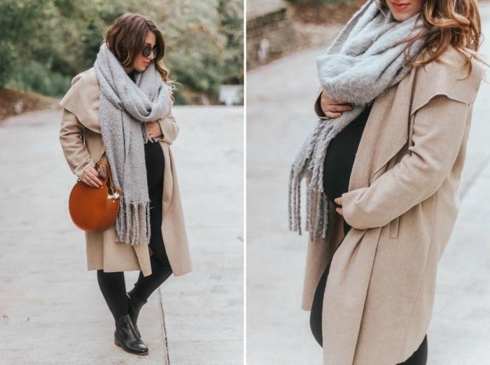 comment bien s'habiller femme enceinte, mode femme grossesse automne hiver, modèle de manteau grossesse beige