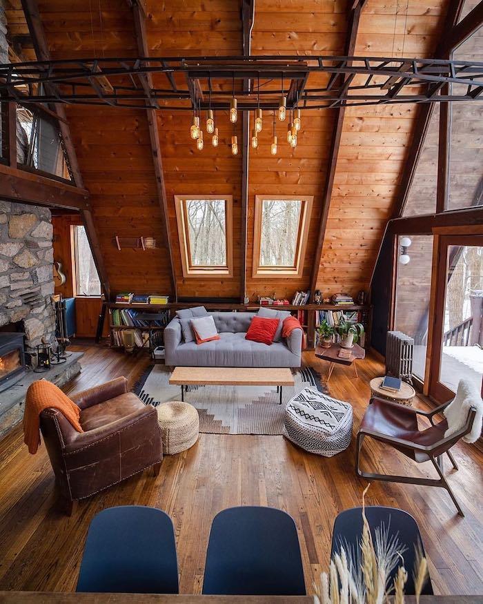 Bois mur et son, cool idée décoration salon cosy moderne chalet chic, confort chambre cocooning