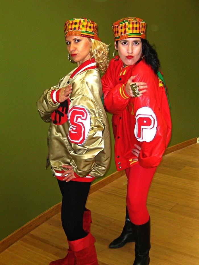 habit année 80 pour une soirée déguisée thématique, mode hip-hop des années 80, costume salt and pepper