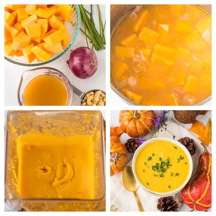 comment faire velouté de butternut facile à l oignon, bouillon et lait de noix de cajou, recette soupe vegan